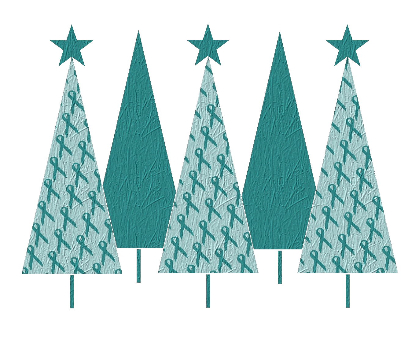 Christmas Trees Teal Ribbon